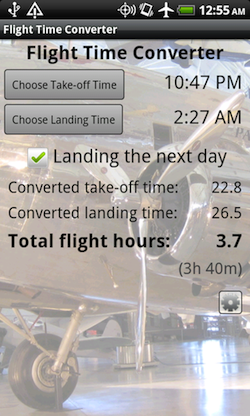 Flight Time Converter Android Screenshot 1