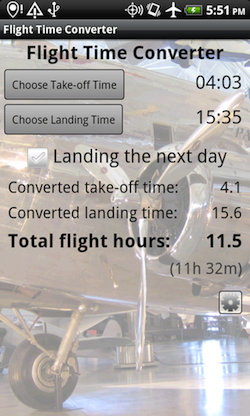 Flight Time Converter Android Screenshot 3